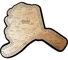 Alaska Map Cribbage Board