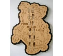 Farm Island Lake, Aitkin County, MN Cribbage Board