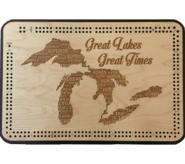 Great Lakes, Great Times Map Cribbage Board