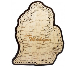 Lower Michigan Map Cribbage Board