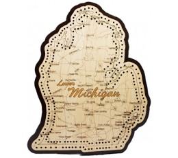 Lower Michigan Map Cribbage Board