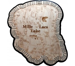 Mille Lacs Lake, Aitkin County, MN 3 Track Cribbage Board