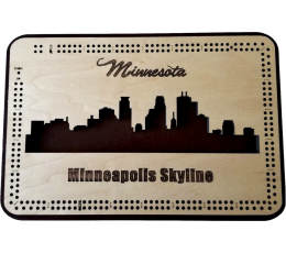 Minneapolis, MN Skyline Cribbage Board