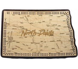North Dakota Map Cribbage Board