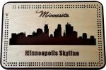 Minneapolis, MN Skyline Cribbage Board
