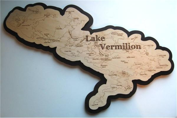 Lake Vermillion Minnesota Map.Lake Vermilion Wood Art St Louis County Mn