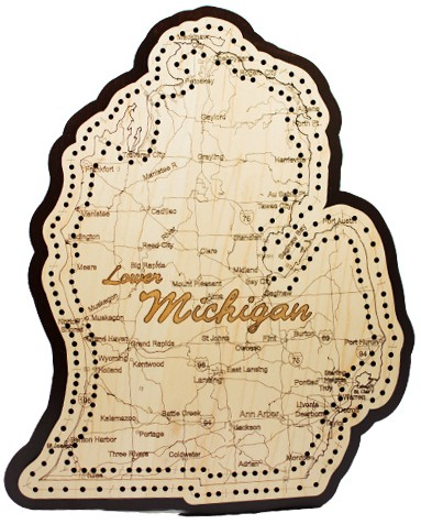 Lower Michigan State Shape Map Cribbage Board - Map of lower michigan